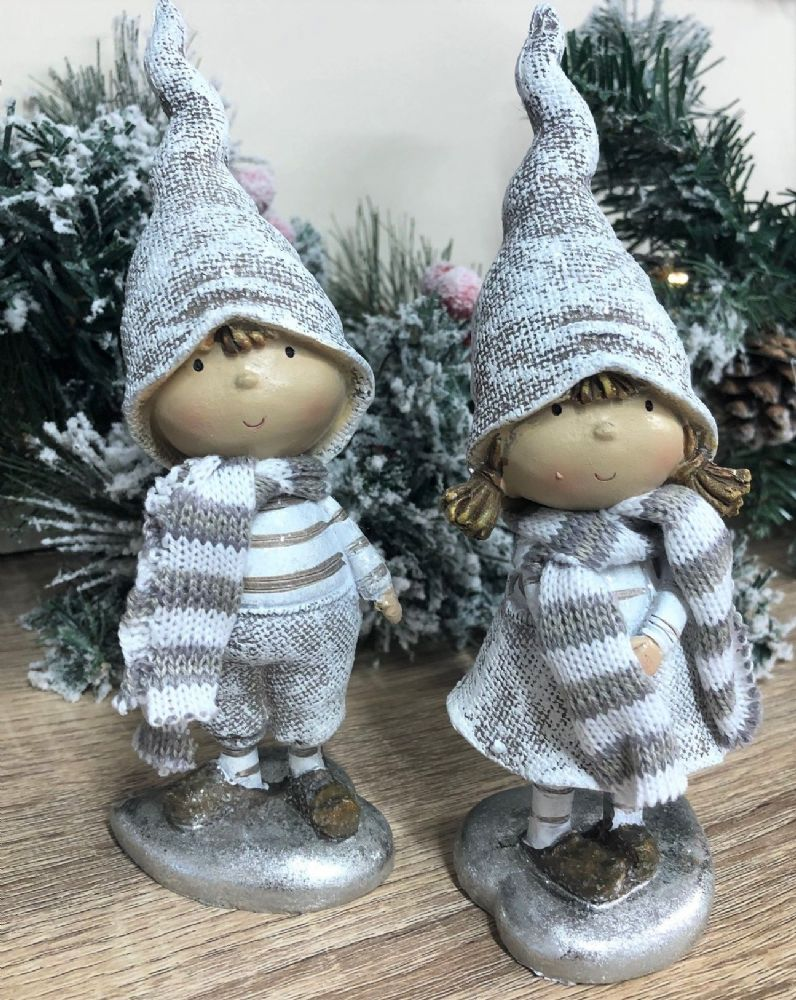 Christmas Boy & Girl Hand Painted Winter Ornaments with Fabric Scarves